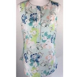 Talbots spring floral blue green sleeveless top
